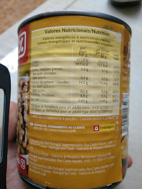 Feijão - Nutrition facts - pt
