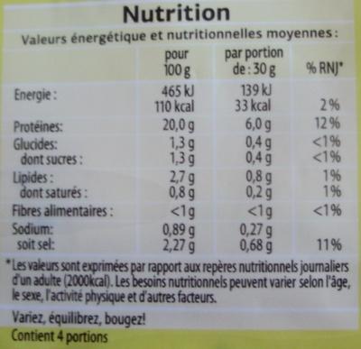 Blanc de Poulet aux herbes (Qualité Choix) 4 Tranches - Nutrition facts