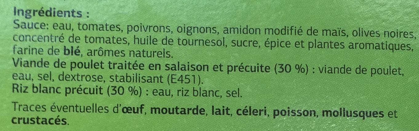 Poulet Basquaise et riz blanc - Ingrédients - fr