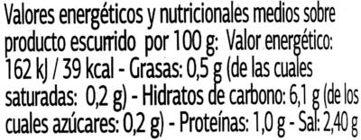Alcaparras en vinagre - Informació nutricional - es
