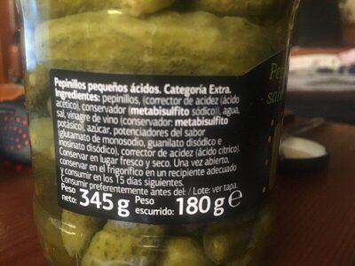 Pepinillos sabor anchoas - Ingredientes