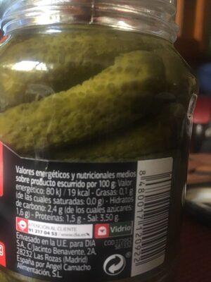 Pepinillos sabor anchoas - Información nutricional