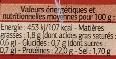 Filet de Poulet Fumé - Nutrition facts - fr