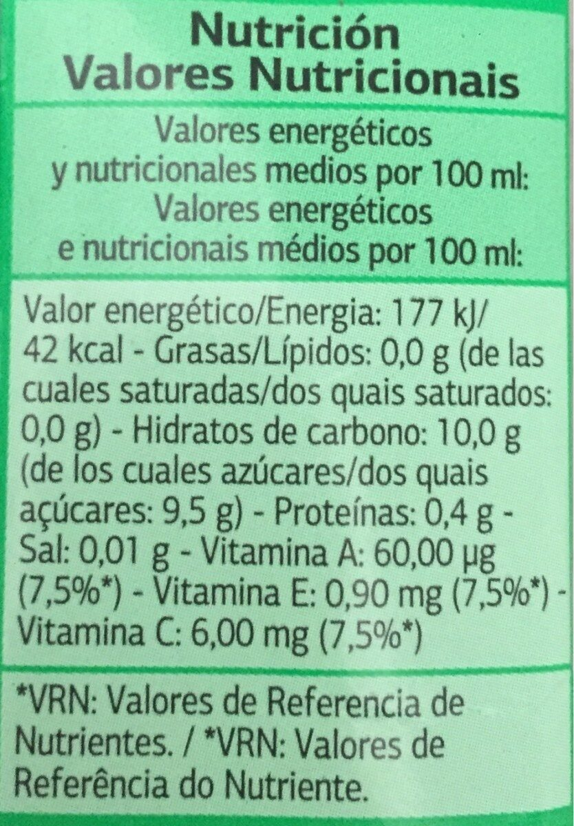 Zumo y leche tropical - Información nutricional - es