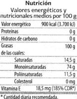 """Aceite de oliva virgen extra """"Dia"""" - Voedingswaarden - es"""
