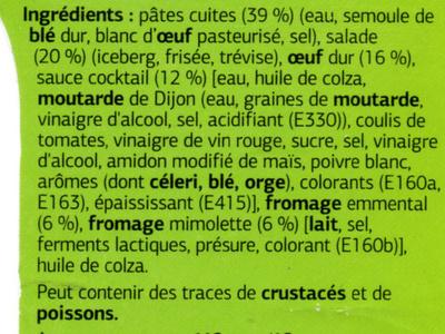 Salades et pâtes oeuf fromage - Ingrediënten