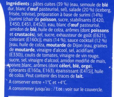 Salades et pâtes Surimi, sauce cocktail - Ingrédients - fr