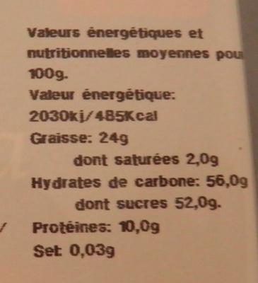 Turrón de yema tostada - Información nutricional - es