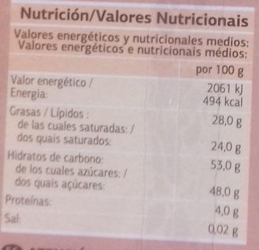 Turrón de coco - Voedingswaarden - es