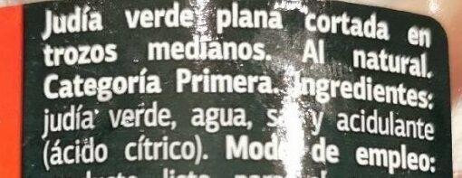 Judía Verde Plana - Ingredients
