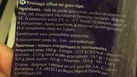 Mozzarella rallada - Ingrédients - fr