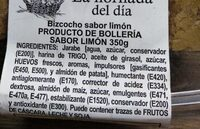 Bizcocho sabor a limón - Ingredientes - es