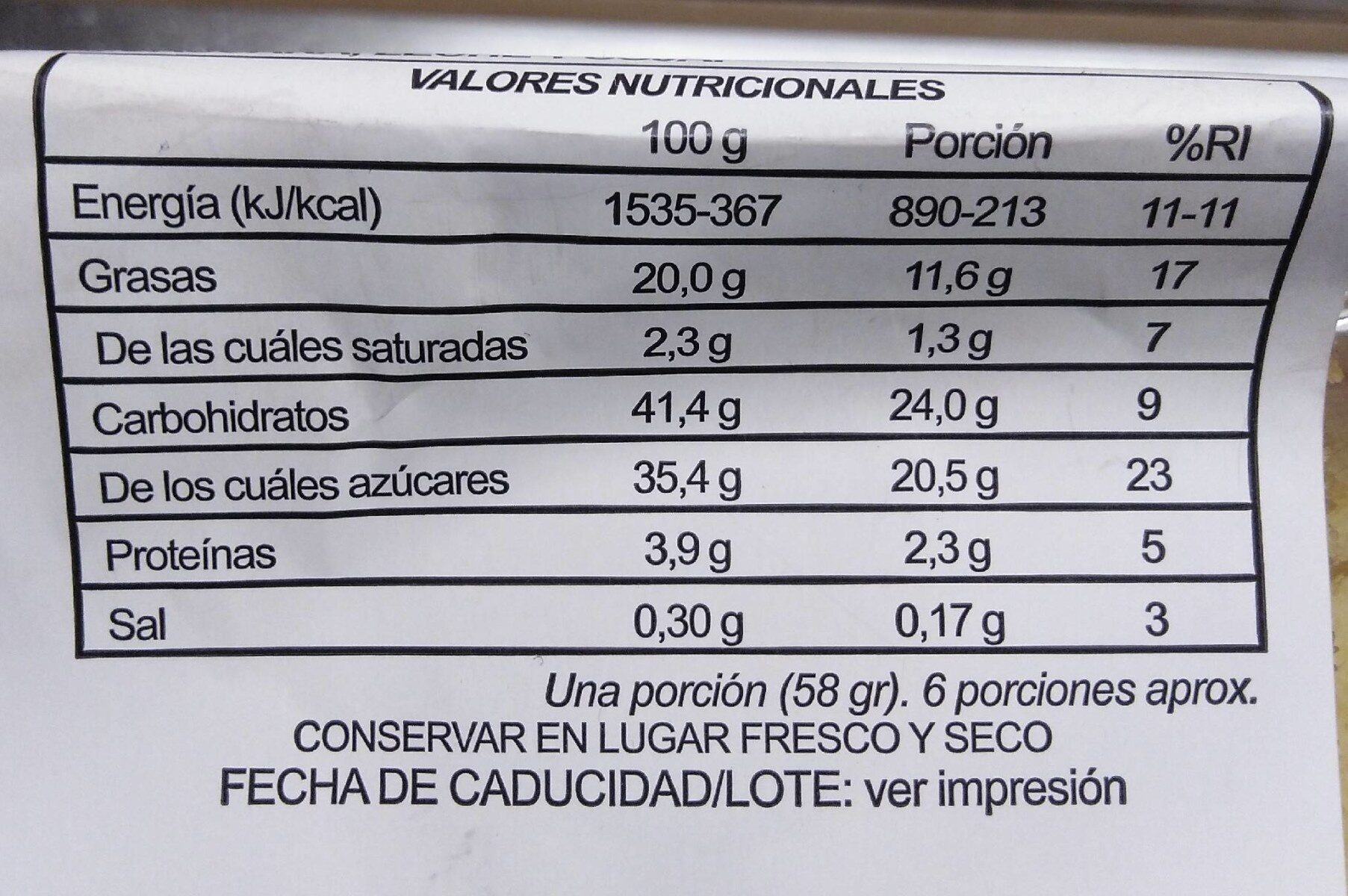 Bizcocho sabor a limón - Informations nutritionnelles - es