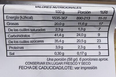 Bizcocho sabor a limón - Nutrition facts