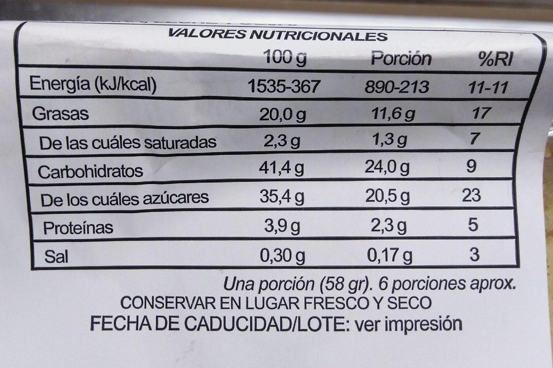 Bizcocho sabor a limón - Información nutricional - es