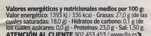 Queso provolone con oregano - Informació nutricional - es