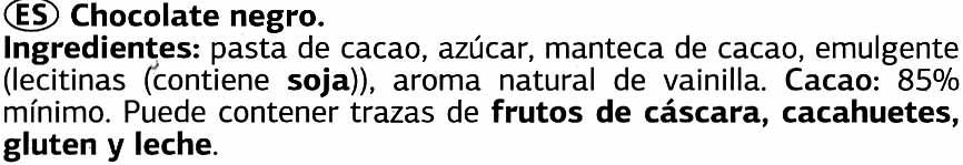 Tableta de chocolate negro 85% cacao Origen Santo Domingo - Ingredients - es