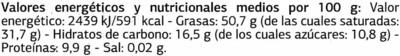 Tableta de chocolate negro 85% cacao Origen Santo Domingo - Informació nutricional - es