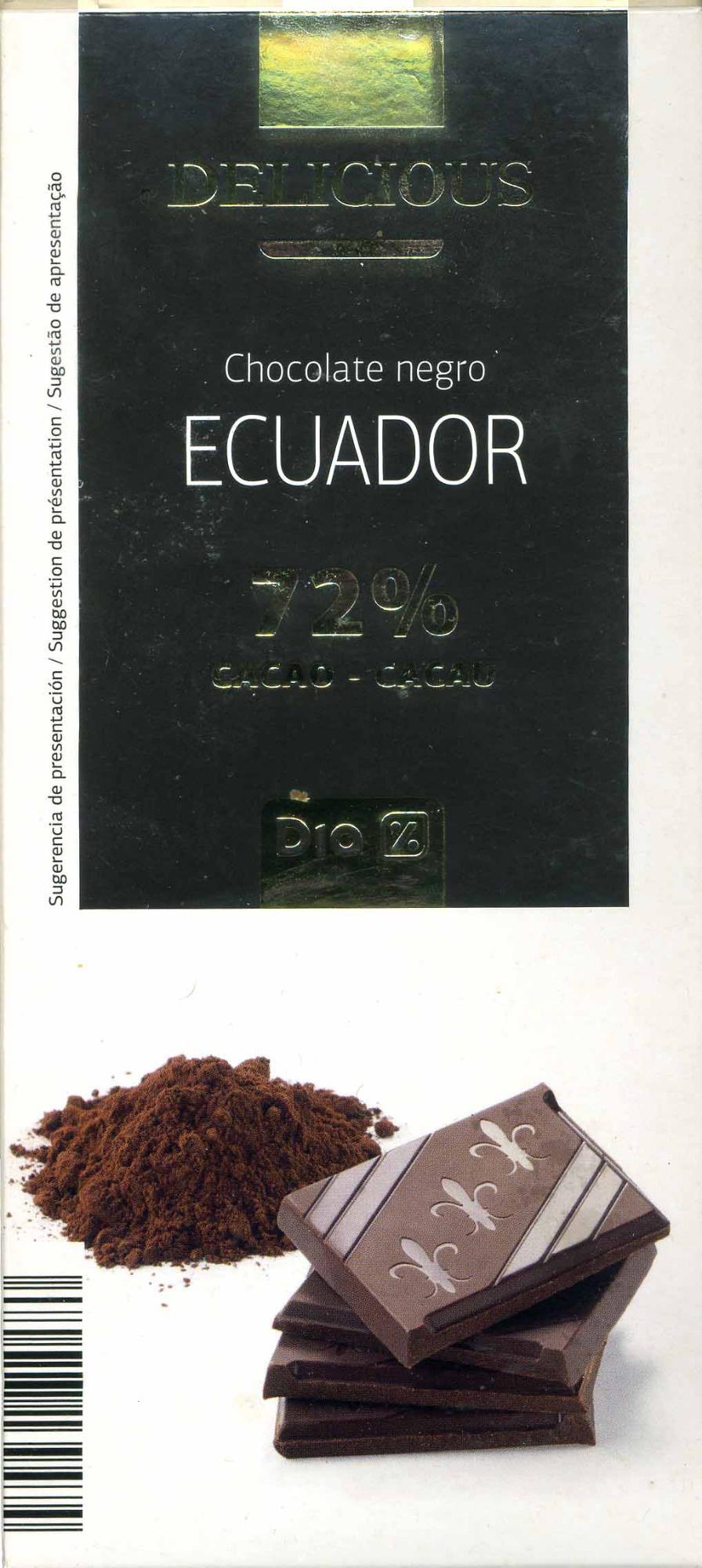 Tableta de chocolate negro 72% cacao Origen Ecuador - Producte - es