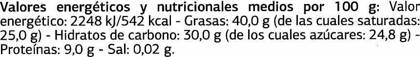 Tableta de chocolate negro 72% cacao Origen Ecuador - Informació nutricional - es