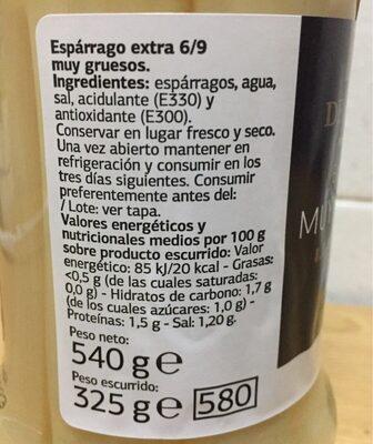 Delicious esparrago muy grueso - Información nutricional - es