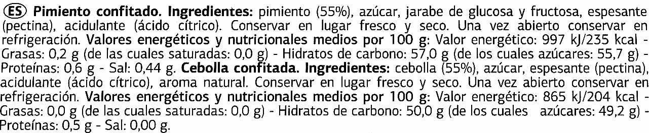 Surtido de confitados: pimiento de piquillo y cebolla - Ingrédients