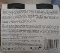 Confitados pimiento piquillo y cebolla - Información nutricional - es