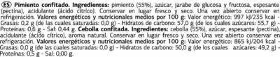 Surtido de confitados: pimiento de piquillo y cebolla - Informations nutritionnelles