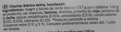 Chorizo ibérico lonchas - Ingredientes