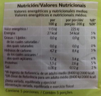 Brócoli, coliflor y zanahoria - Información nutricional