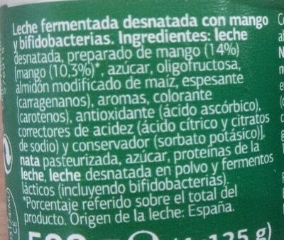 Bifidus pedazos mango - Ingredients