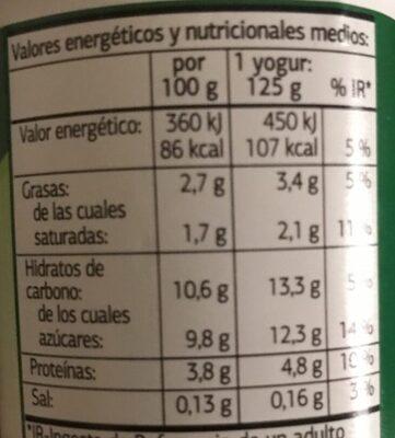 Bifidus con ciruela - Información nutricional - es