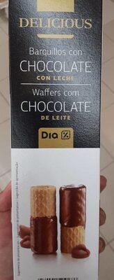 Delicious. Barquillos con chocolate con leche - Producto