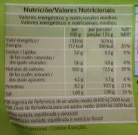 Bases de pizza - Información nutricional