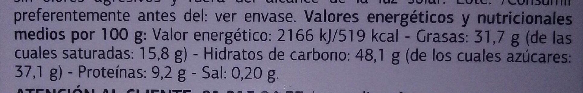 Chocolate con leche almendras enteras y pasas - Nutrition facts