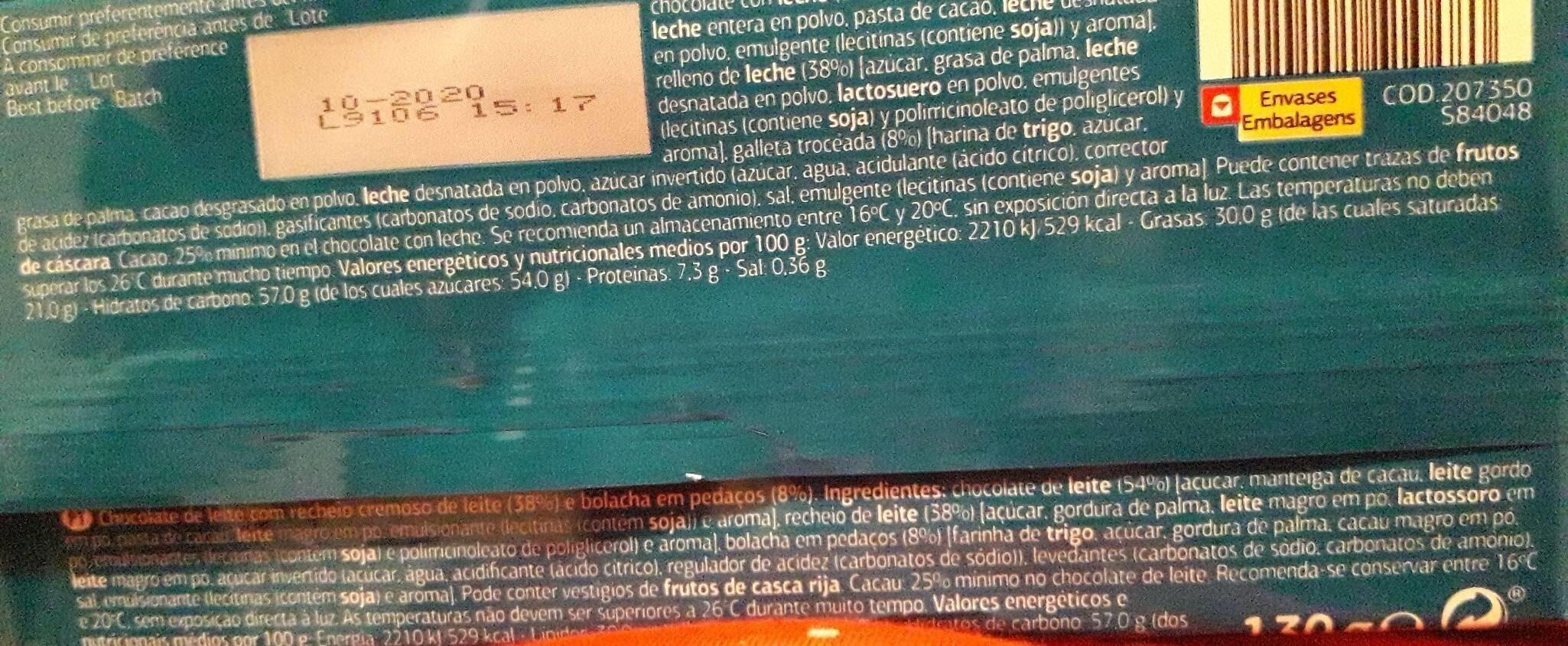 Chocolate con leche relleno - Información nutricional - es