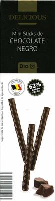 Mini sticks de chocolate negro 62% cacao