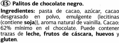 Mini sticks de chocolate negro 62% cacao - Ingredients