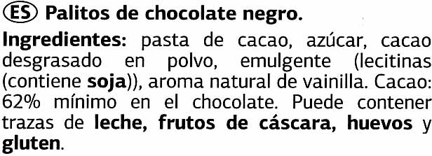 Mini sticks de chocolate negro 62% cacao - Ingredients