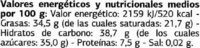 Mini sticks de chocolate negro 62% cacao - Informació nutricional