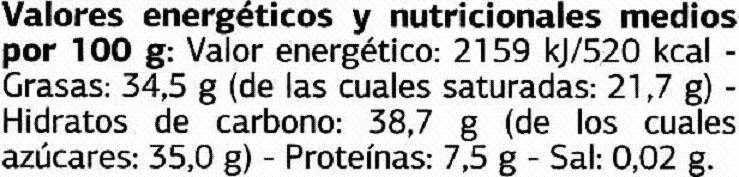 Delicious mini sticks de chocolate negro 62% cacao - Informations nutritionnelles - es