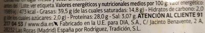 Chorizo de León Delicious - Nutrition facts