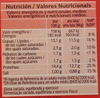 Filetes de Caballa del Sur en salsa de tomate - Informació nutricional