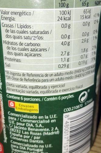 Tomate triturado con cebolla - Información nutricional - es