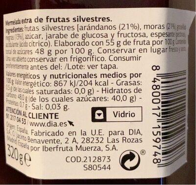 Mermelada de frutas silvestres - Informació nutricional - es