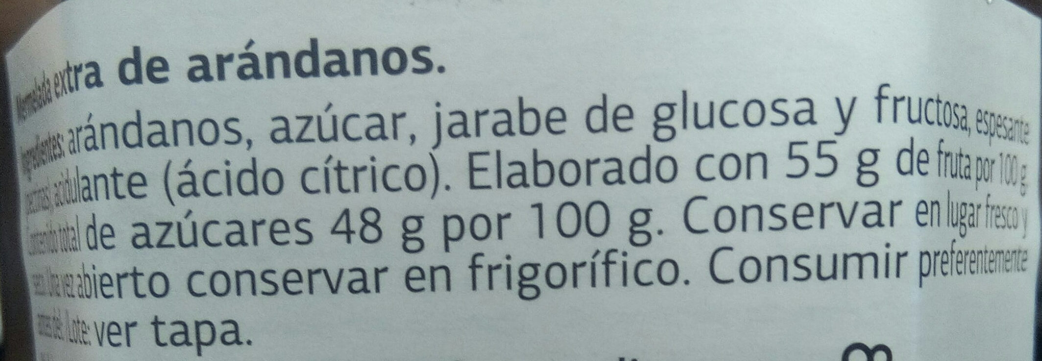 Mermelada de arandanos - Ingredients - es