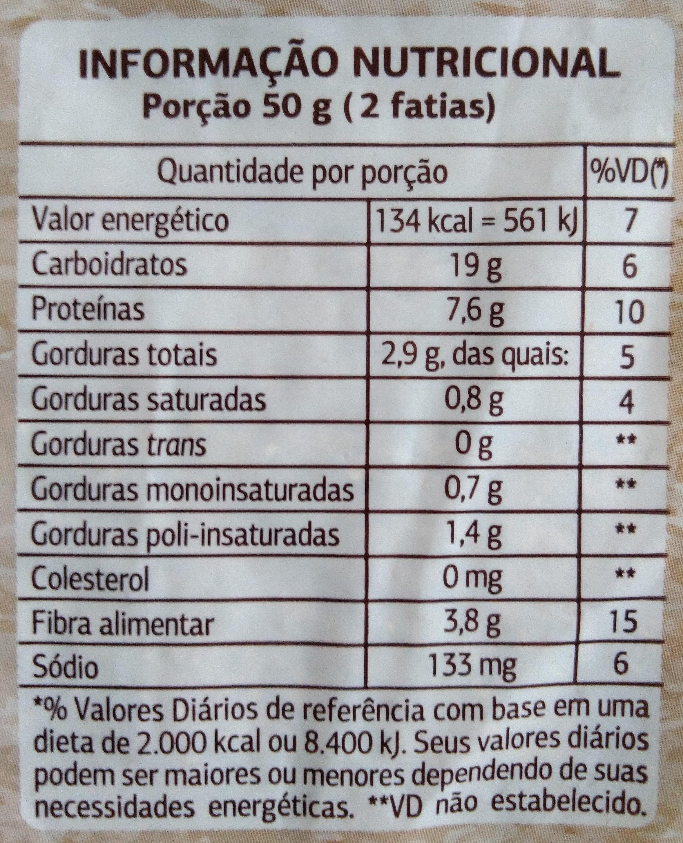 Pão 100% integral multigrãos - Informação nutricional - pt