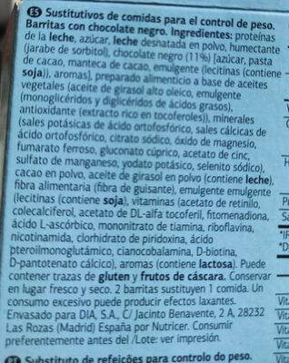 Barritas sustitutivas chocolate negro - Ingredienti - es