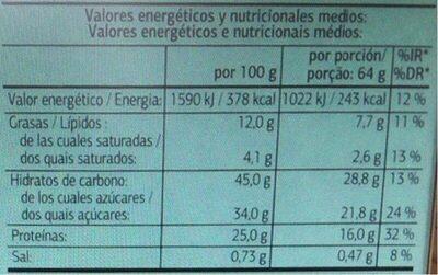 Barritas sustitutivas chocolate negro - Valori nutrizionali - es