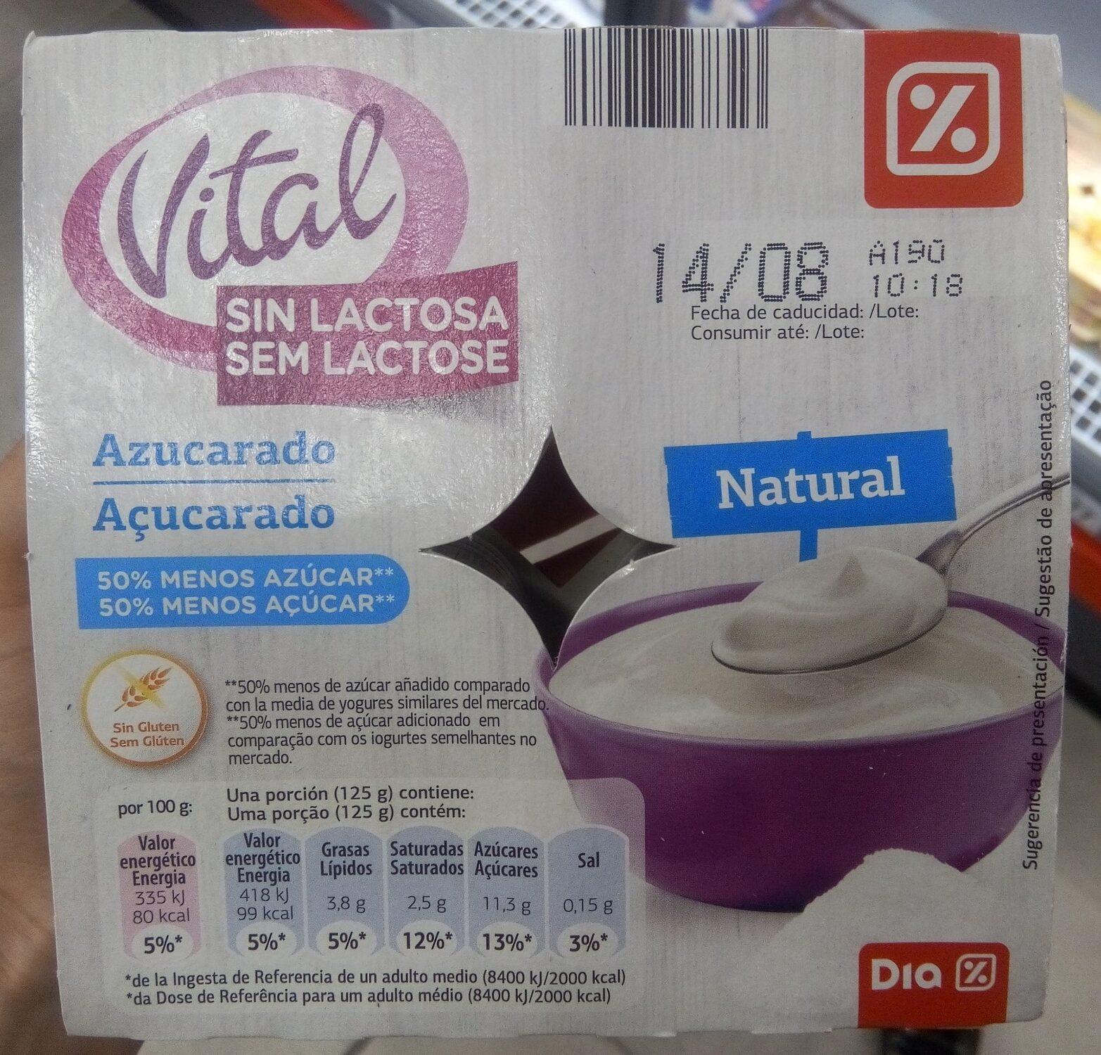 Yogur sin lactosa azucarado natural - Producto - es